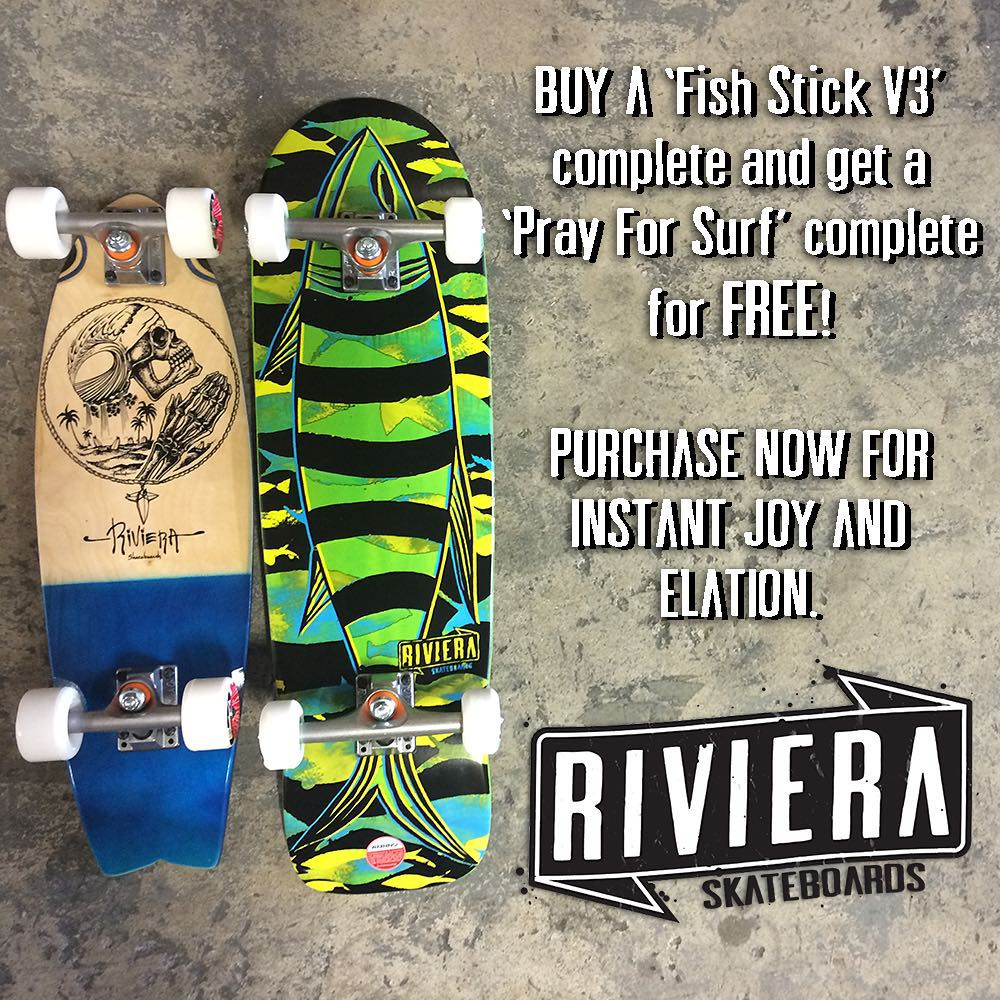 Our friends at @skateriviera are back with another smokin' summer deal - this time you can get two complete boards for the price of one. Buy a Fish Stick V3 complete and you'll get a Pray For Surf mini for FREE! Both completes come set up with our...