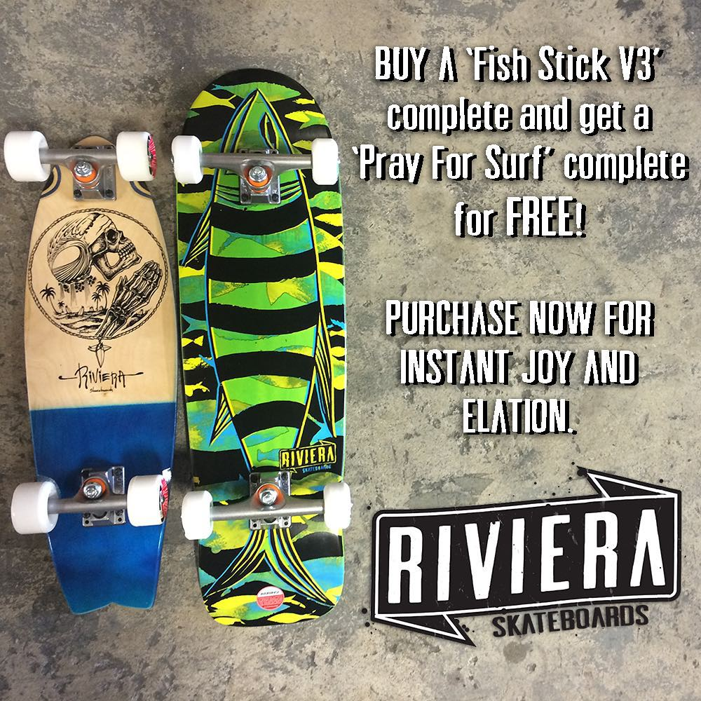 $120!!! Our Summer Special 2 is still going.  Buy ONE Get ONE FREE. Purchase a 'FishStick V3' complete for $120 and get a 'Pray For Surf' complete for FREE. Limited to the first 35 customers. Both boards built with @paristruckco and @divinewheelco...