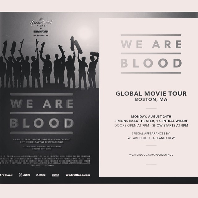 We are blood premieres tonight in boston at the wharf imax at 7pm. #weareblood #boston @tyevans @brainfarm