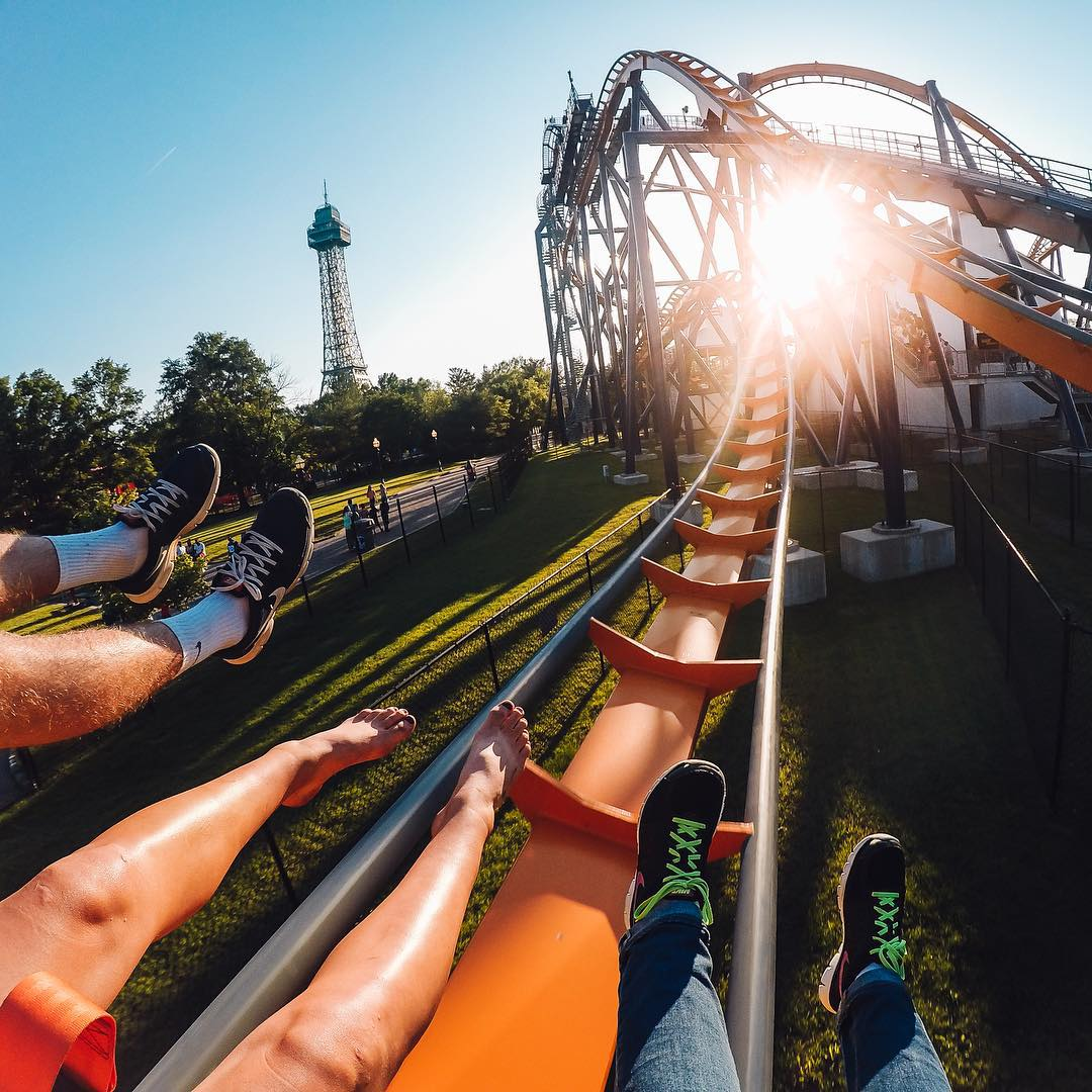 "No Monday blues for @compassrose04 as she rides a roller coaster in Virginia! She used the wrist strap mount to capture this shot while riding the ""Dominator."" Share your Monday's with us by clicking the link in our profile. #GoPro #GoProGirl..."