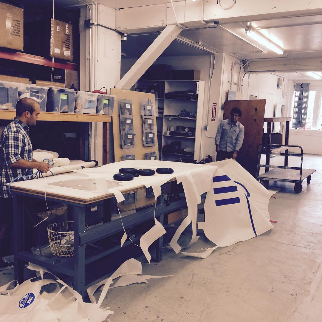 Happy Monday! Fresh sails from San Diego just arrived at the workshop, time to make some bags. #fromsailstobags