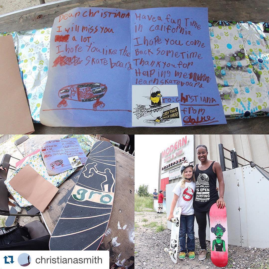❤️❤️❤️❤️#Repost @christianasmith with @repostapp. ・・・ This is why I love skateboarding so much and why I do every thing I do for @michigangrocrew and @girlsridersorg . Claire a Michigan GRO regular and her family made my whole life today with this card...