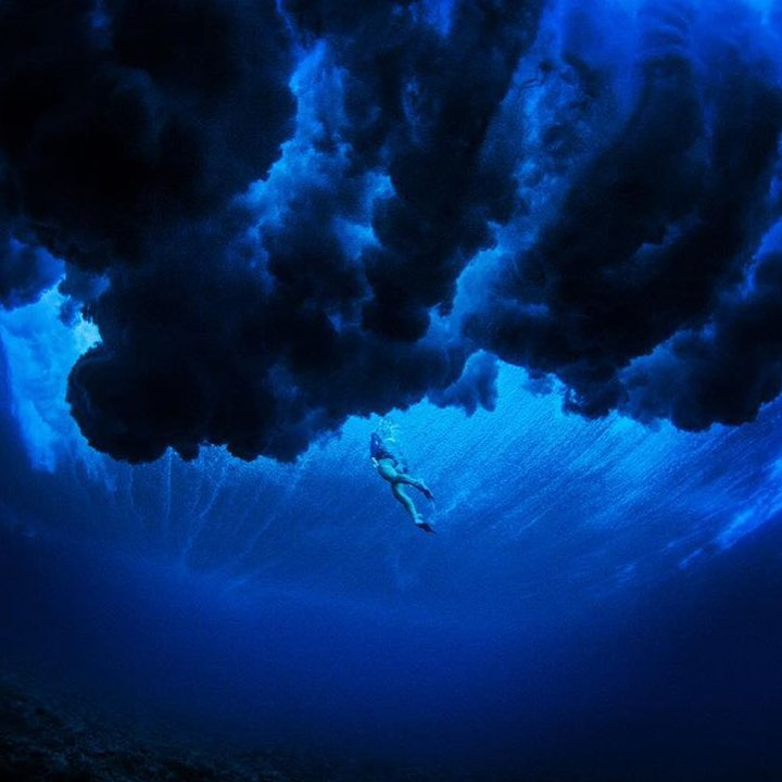 Mesmerized.  #regram @rosyhodge in the inky depths of Tahiti.