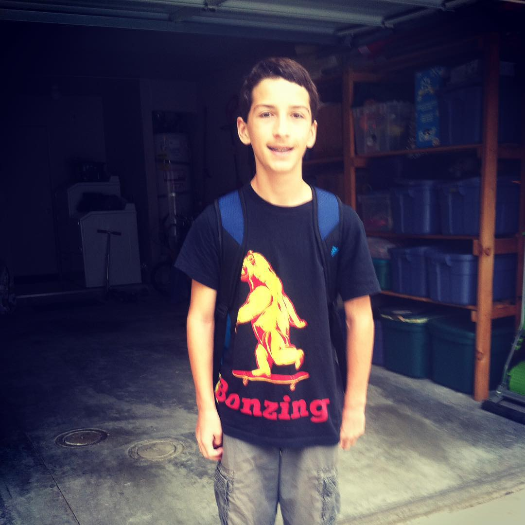 This shredder is ready for the first day of school!  Grab your back to school apparel at BonzingSkateboards.com!  #bonzing #shapers #artists #sanfrancisco #california