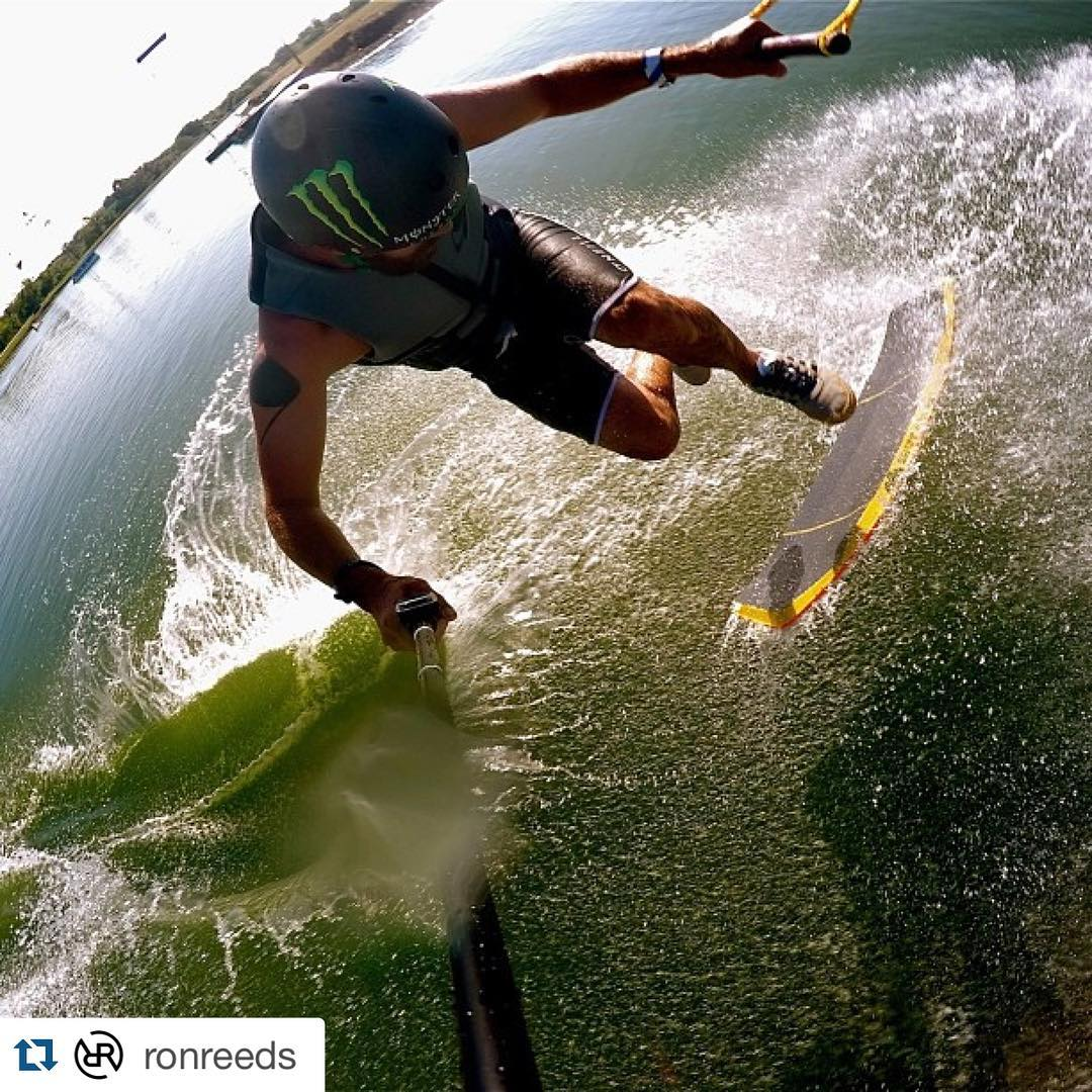 @ronreeds with some early morning @texasskiranch action... @gopro @obscurawakeskates @monsterenergy #gopro