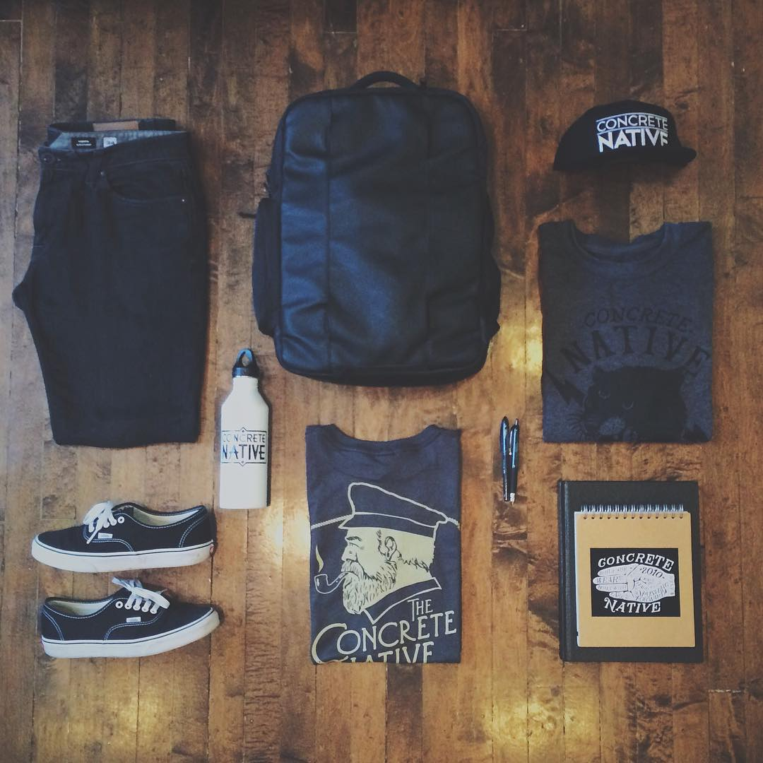 It's Back to School time again. Make sure you are prepped with your essentials!  Reminder: use promo code BTS15 at checkout to get 25% off your entire order through concretenative.com!  Featured above: The O.G. backpack / The Stalker Crewneck / Swoon...