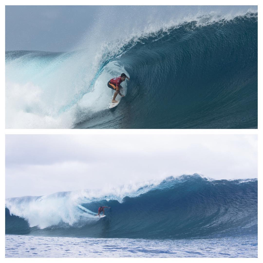 And now we are down to two surfers- @gabrielmedina and @floresjeremy. Goofy vs regular. WHO WILL WIN THE #BillabongProTahiti !? @wsl