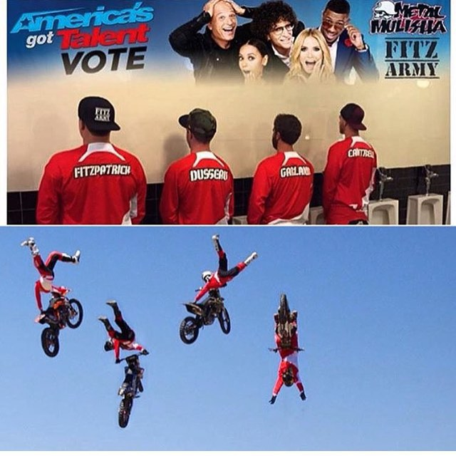 You can cast you votes now for Americas got talent! Vote for the @fitzarmyfmx @metalmulisha team! Airs at 8pm on NBC @nbcagt #americasgottalent