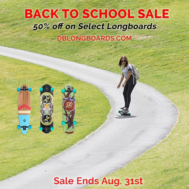 It's the last week of our Back To School Sale where you can save up to 50% on select longboards and 20% off on all apparel at DBlongboards.com!
