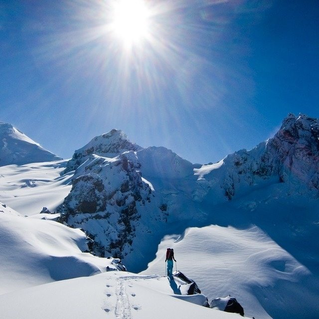 DPS Ambassador @tessgolling perching out atop Heliotrope ridge. North Cascades, WA. Photo: @adamcu280. #dpsskis #PNW #backcountry #skiing