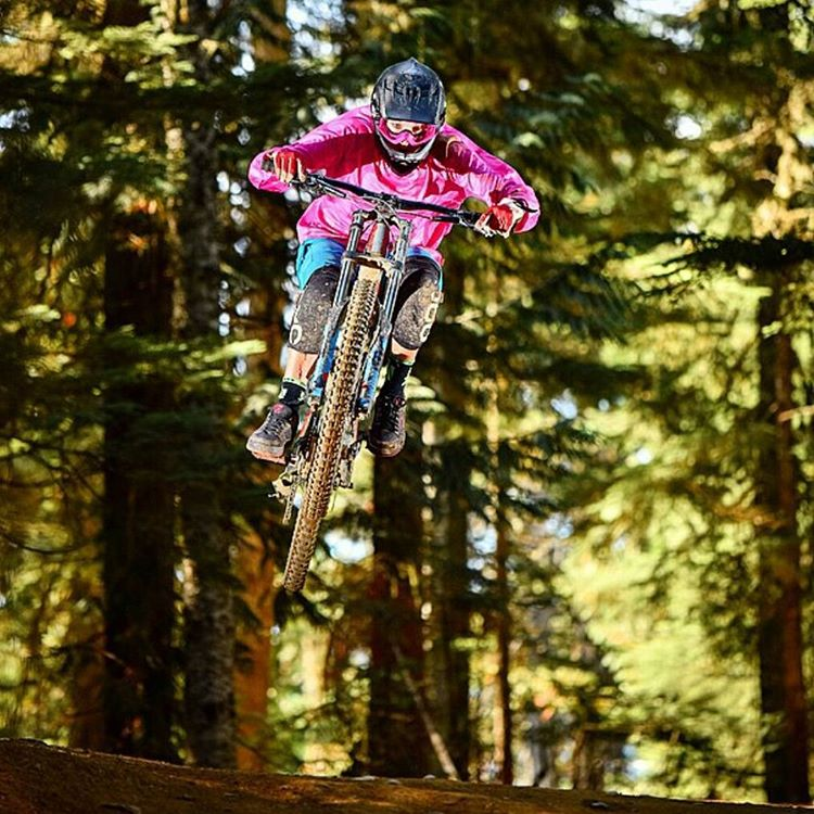 Sending. #Regram from @lucysack. Way to get after it at @whistlerbikeprk. Tag the photographer (killer shot). #ladyshred #crankworx #mtb #mountainbiking #whistlerbiking #whistler #awesome #bikephotography #shejumps #IAmSJ #pink
