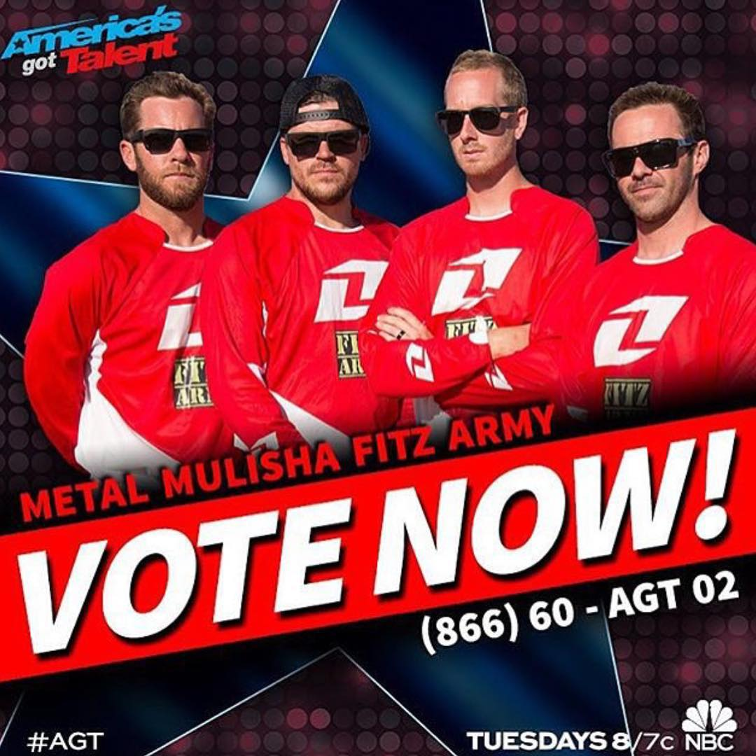 Don't forget you have until 12PM PST today to #VOTE for the boys @JFitzo @JulsDuss @GarlandFMX @CantrellFMX to help them advance for @NBCAGT