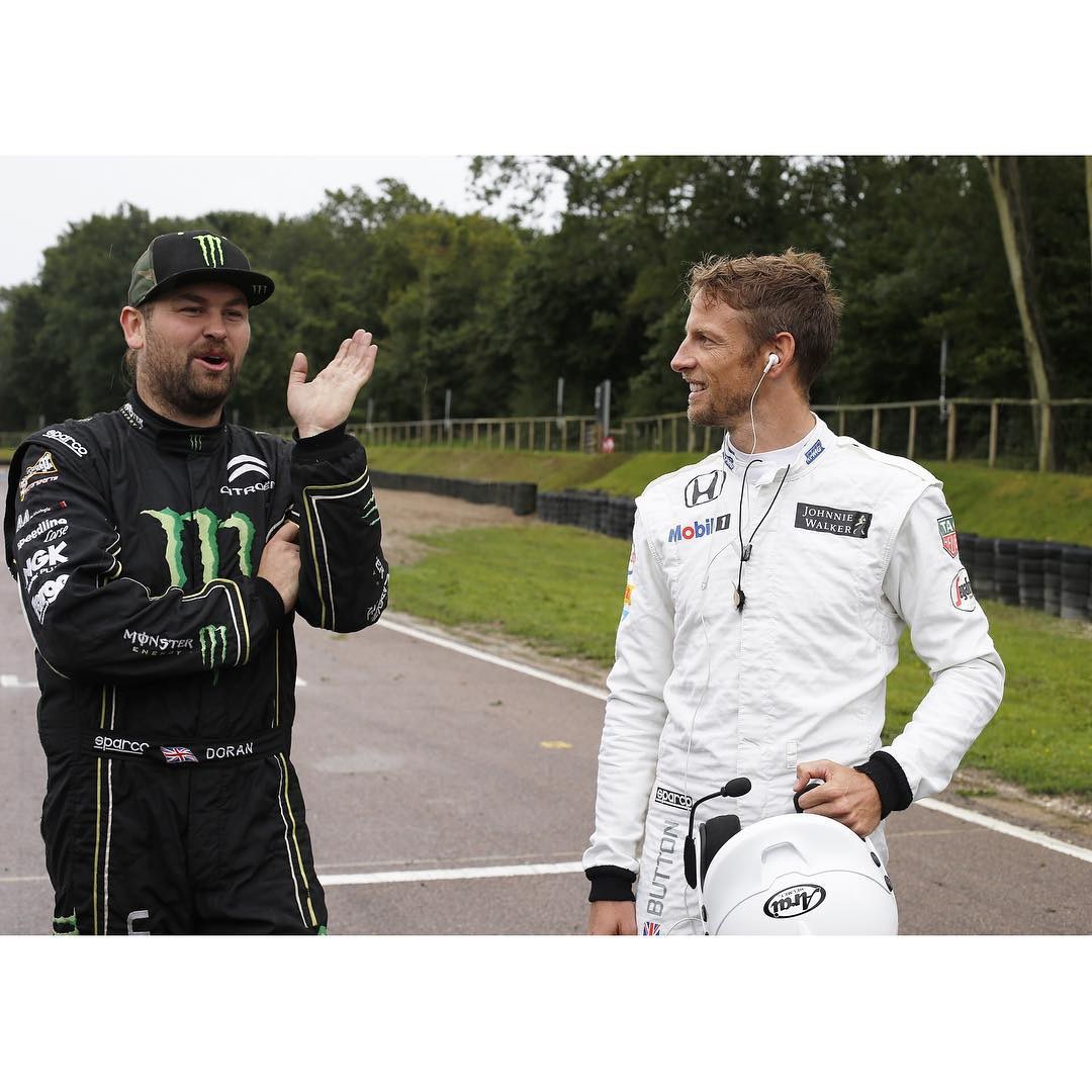 Got to work with 2 very talented drivers today, Jenson Button and David Coulthard as they tried their hand at Rallycross!!! It was amazing to see how much respect they have for Rallycross drivers, and was surreal to be giving tips to these guys