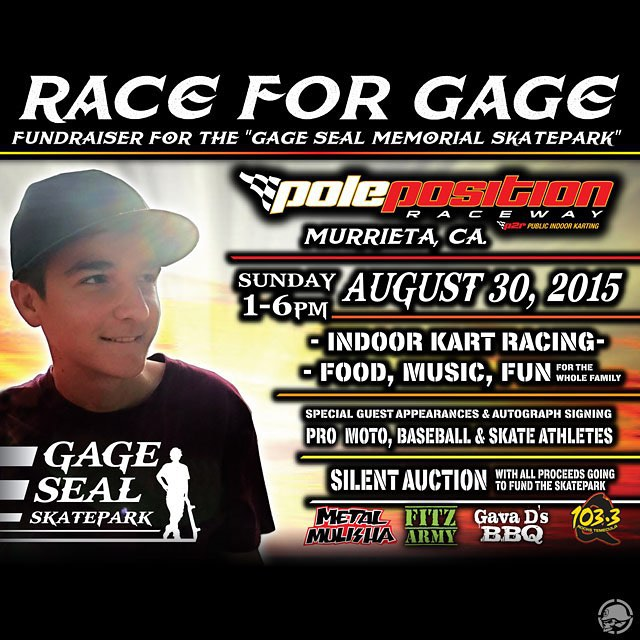 "Come join us and the CREW for the #RaceForGage Fundraiser to help the ""Gage Seal Memorial Skatepark"" dream happen and to support a great #FAMILY"
