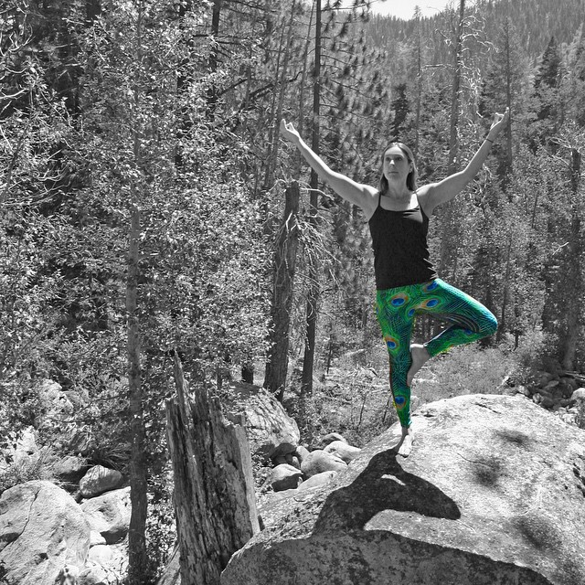 A tree pose amongst the playful pines in pretty peacock print ••• grab a pair of leggings for the upcoming fall. Shown here is our Abyss print.  #sisterhoodofshred #namasté #spandex  PC: @folklaurstudio || model: @coalitiondanielle