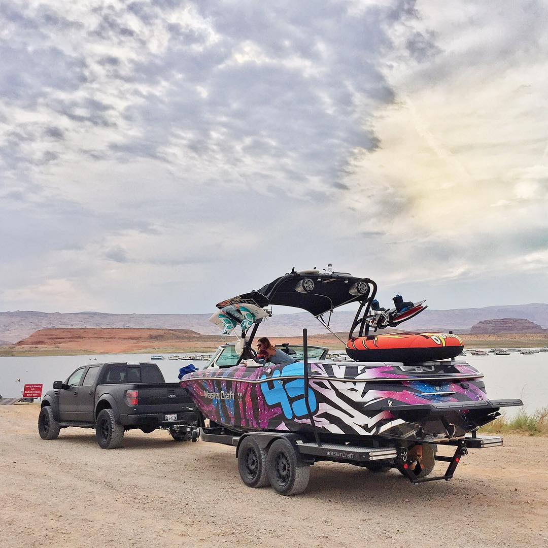 Nice view. Ready to launch. Ready to rip! Ha. #LakePowell #FordRaptor #MasterCraft2015