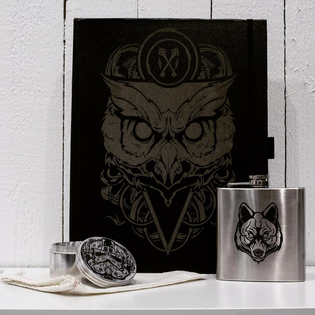 "Drink some whiskey, write angsty poetry and grind some ""spices"" with our new @karvt collection.  They feature the evil designs of @hydrosevenfour and are guaranteed to impress even the hardest of customers. Link in profile. #karvt #hydro74 #asymbolart..."