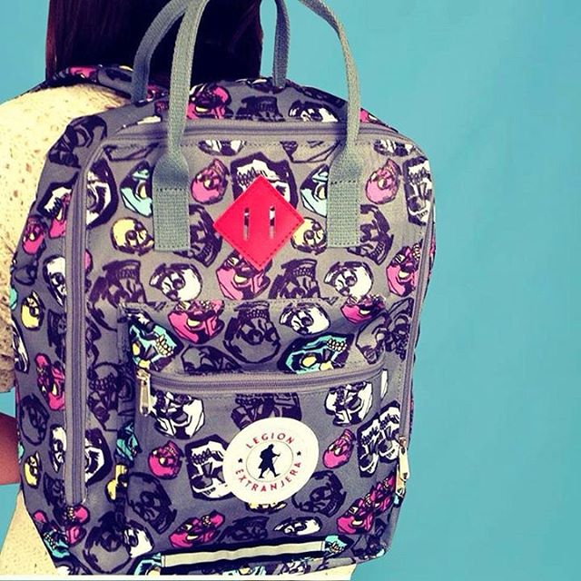 When @legionextranjera backpacks meet iconic prints from @luisafreixas ,amazing things happen
