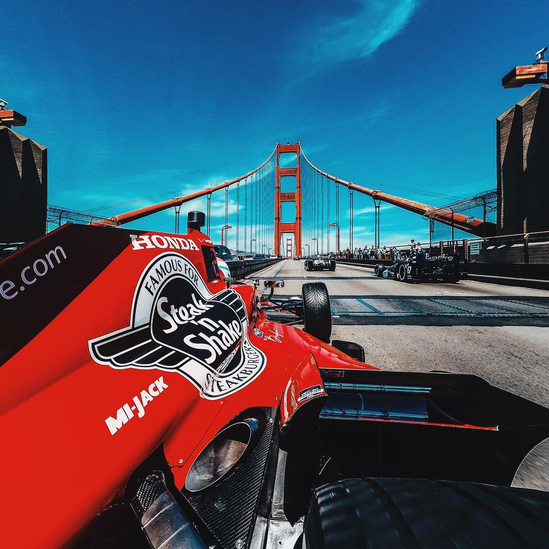 @grahamrahal cruising across the iconic Golden Gate Bridge in #SanFranciso. Check out Graham and the @indycar series this weekend at @racesonoma! #indycar #gopro