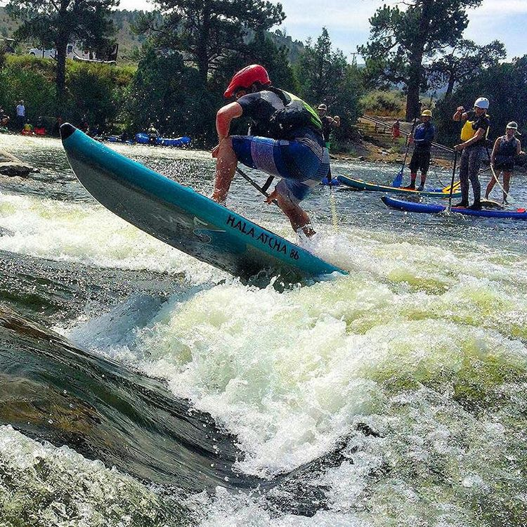Hala Gear owner Peter Hall throwing a huge Ollie on the new #atcha86 at Gore Fest!! Photo: @jcuret #halagear #HalaAtcha86 #adventuredesigned #whitewaterdesigned #supsurfing #supollie #theweeklyinsta #gorefest #colorado #sup #adventurealways #getoutside...