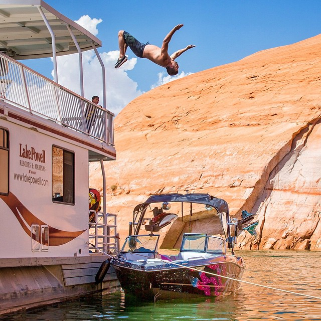 It wouldn't be a trip to Lake Powell without a backflip or two. Had to step up my game from last year by flipping over the new boat. #blockflip #mastercraft2015 #flippingawesome #lakepowell