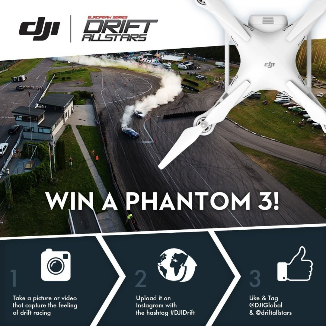 Don't forget that you can still win a #DJI #Phantom3 Advanced with the #DJIDrift campaign.  Next race on August 29 & 30 at Kaunas, Lithuania, so don't miss out on your chance to win one! Just follow the instructions from this post.  #IamDJI @driftallstars