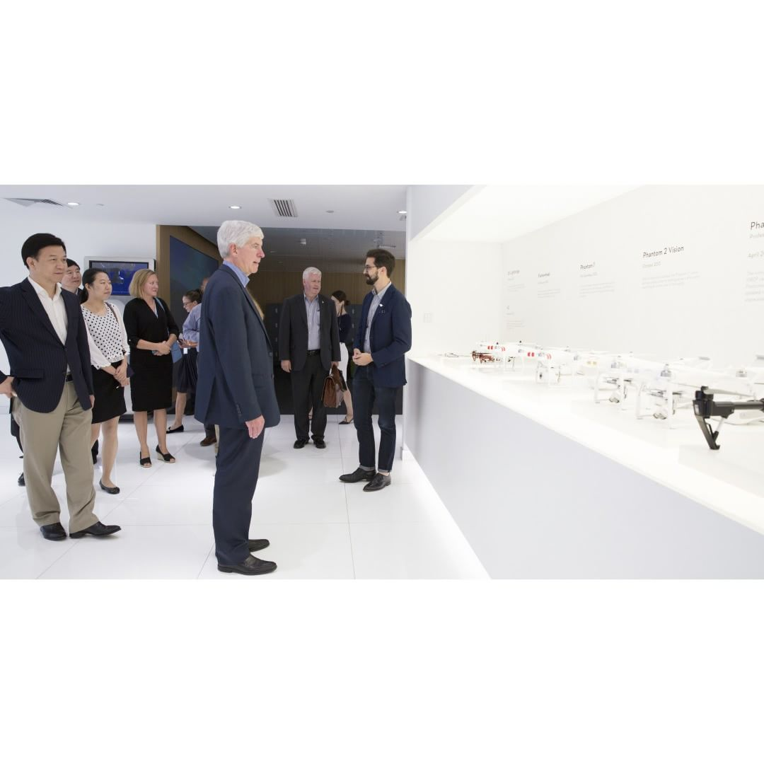 It's that first look at #DJI product that brings out the kid in you.  Michigan Gov. Rick Snyder (@onetoughnerd) recently visited the DJI headquarters to discuss potential investment opportunities. We bet he was more focused on taking a #dronie with our...