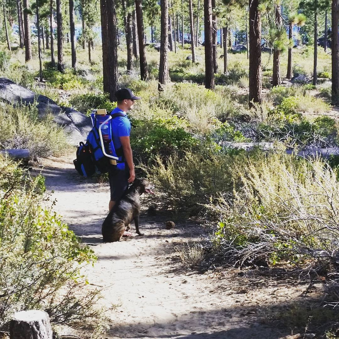 Best friends.  Out on the trail with the Cascade Backpack and the #pup #getoutside #hike #beach #takeittothetrail #takeittothebeach #backpacks #coolers #graniterocx