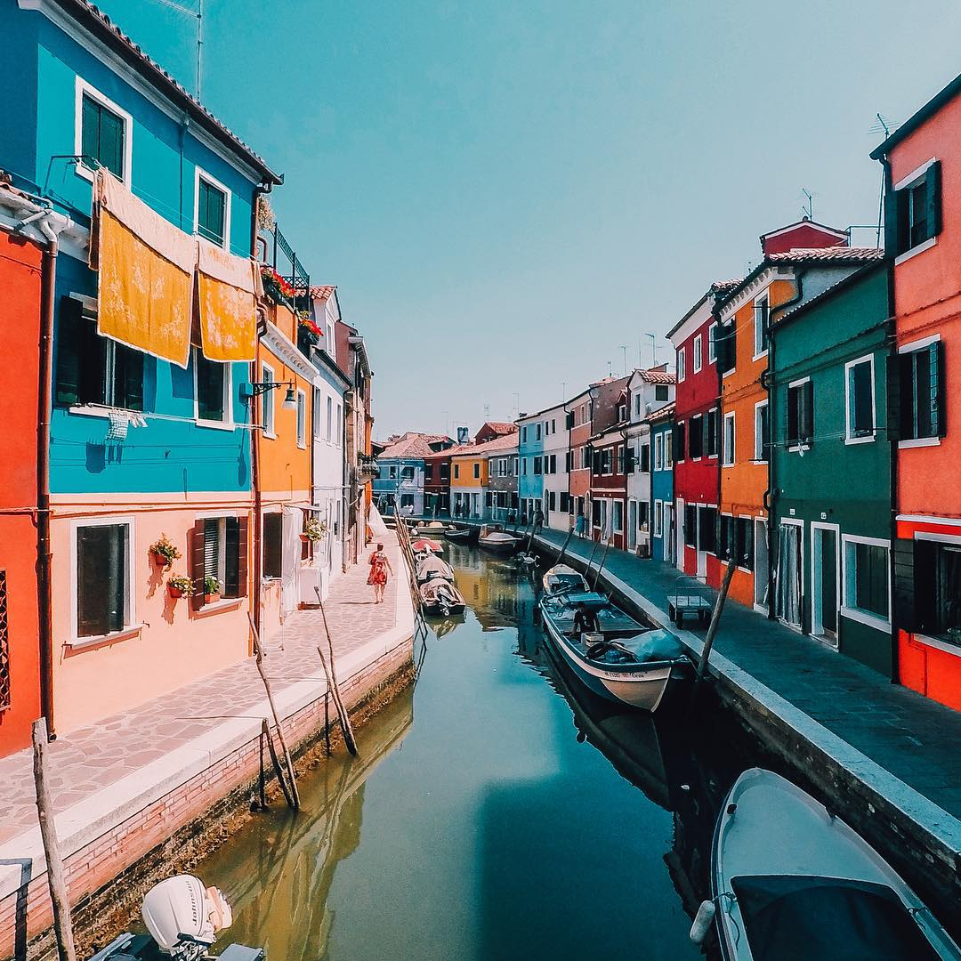 Photo of the Day! @Hadid snapped this colorful shot of the homes in Venice, Italy. Share your best travel photos by clicking the link in our profile. #GoProTravel #Italy #Venice