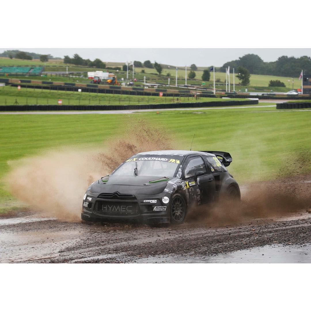 David Coulthard trying out my 2015 World Rallycross DS3 SuperCar this week on a standard British day.....Rainey day!!!