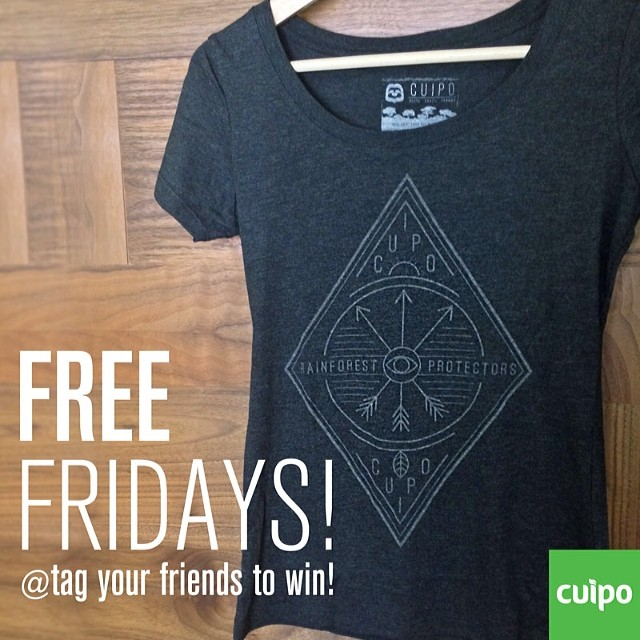 Free friday ladies tee. Tag your friends and win!!! Or go to Cuipo.org to purchase today. #cuipo #saverainforest