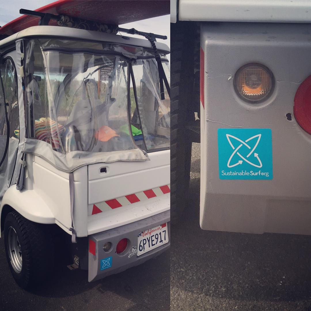 Stoked to see this new update on what a  zero-emission surf mobile can be at my local break this weekend - full electric cart with racks, storage, tunes and the ability to be parked dang near anywhere... And we like the nice sticker too!