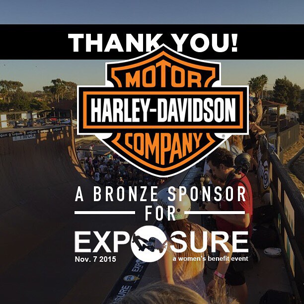 Thank you to @harleydavidson confirmed to be a bronze sponsor for Exposure 2015!! There are plenty of partnership opportunities still available, email partnerships@exposureskate.org to find out how you can help empower girls through skateboarding!