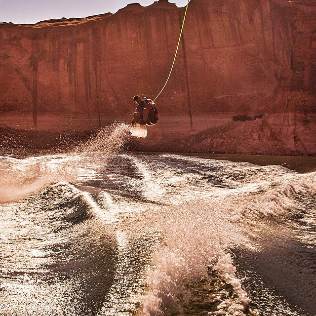 Because of the wild scenery, wakeboarding on Lake Powell is almost video game-esque. Flying through the majestic, tall and sometimes narrow canyons is so fun. #sceniclakeboarding #shakeandwake