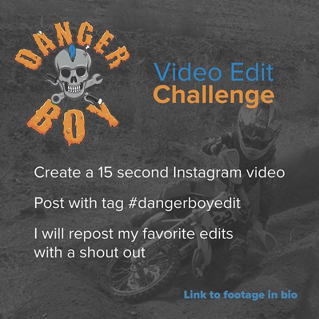 Have you seen @dangerboydeegan edit challenge? Submissions end tonight. He will share and shout out his favorite edits. Go to his profile for details