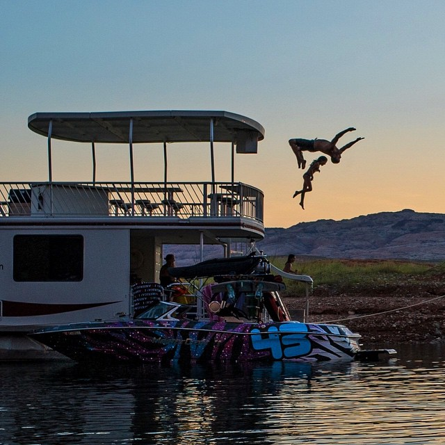 This is proper parenting, right? Flipping over my 8-year-old daughter while she jumps off the second story of our houseboat here at #LakePowell last night. #parenting101 #safetyfirst #alsofunfirst #blockflip
