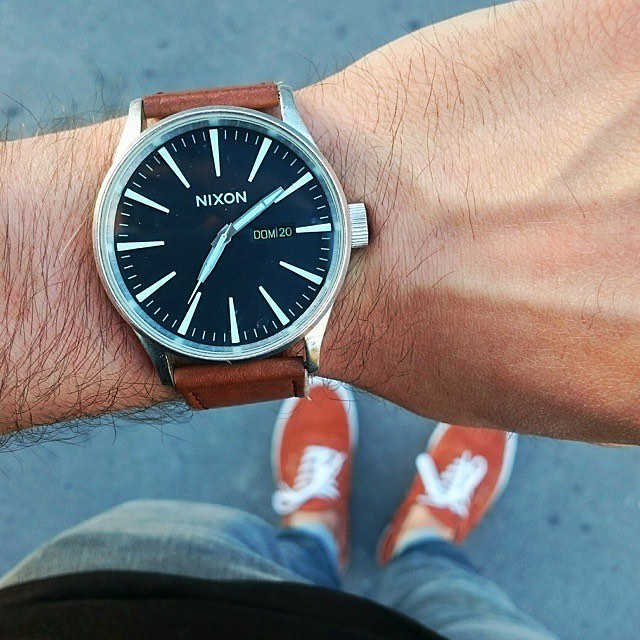 Thanks to @youngestkevin for flying the #Nixon flag with his black/saddle #SentryLeather. Show us how you #NixonNow and you could be featured too.