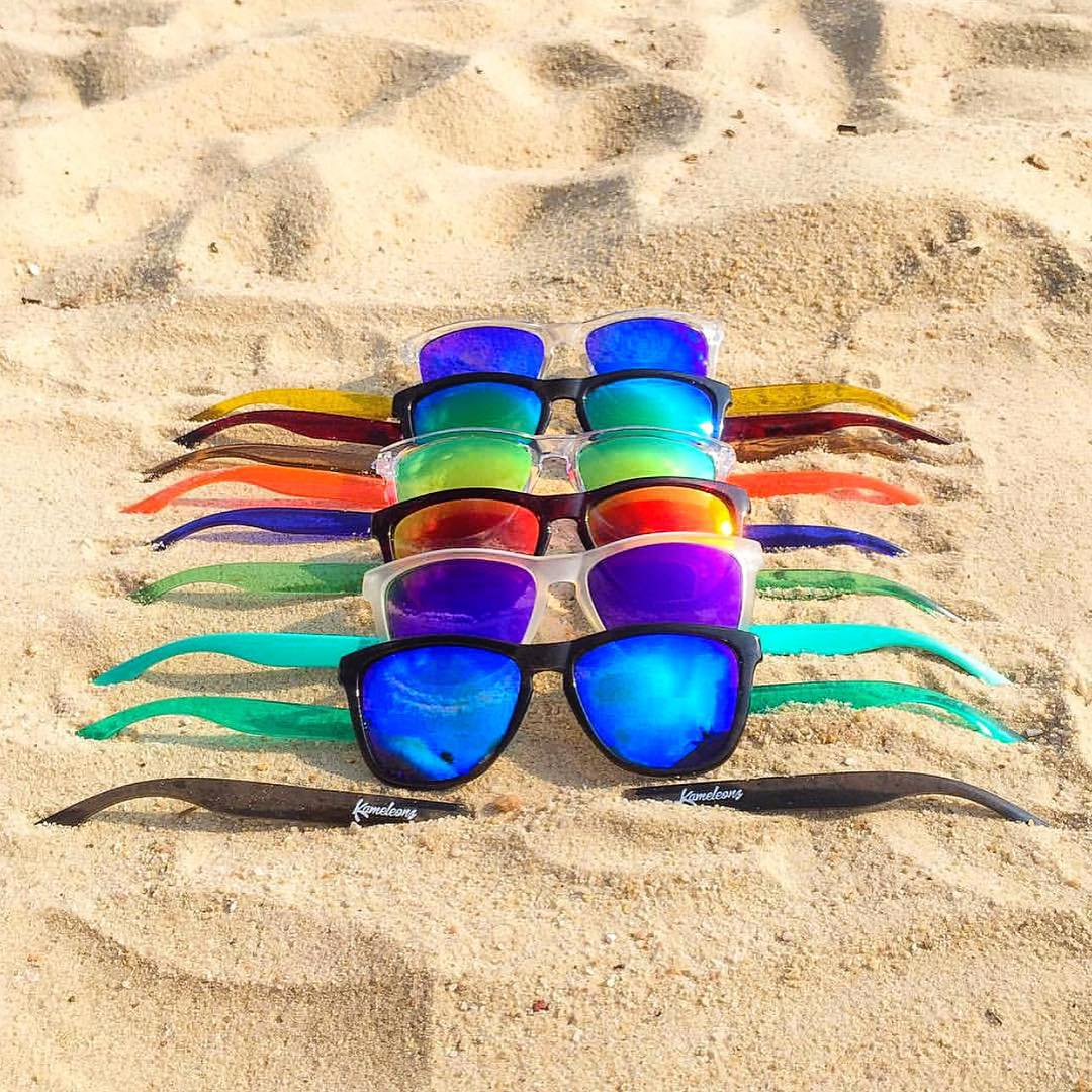 One pair of shades to rule them all Frames (top to bottom): Blue Coconut, Bali, Coconut, Lava, Fiji, Surf Kameleonz.com