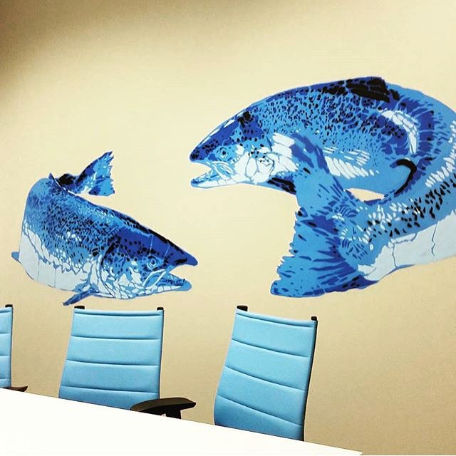 @davelowell • • 1 fish, 2 fish, office fish, blue fish.. • • #atx #austintx #texas #tx #monday #design #spratx #davelowell #artistwork #art #stencil