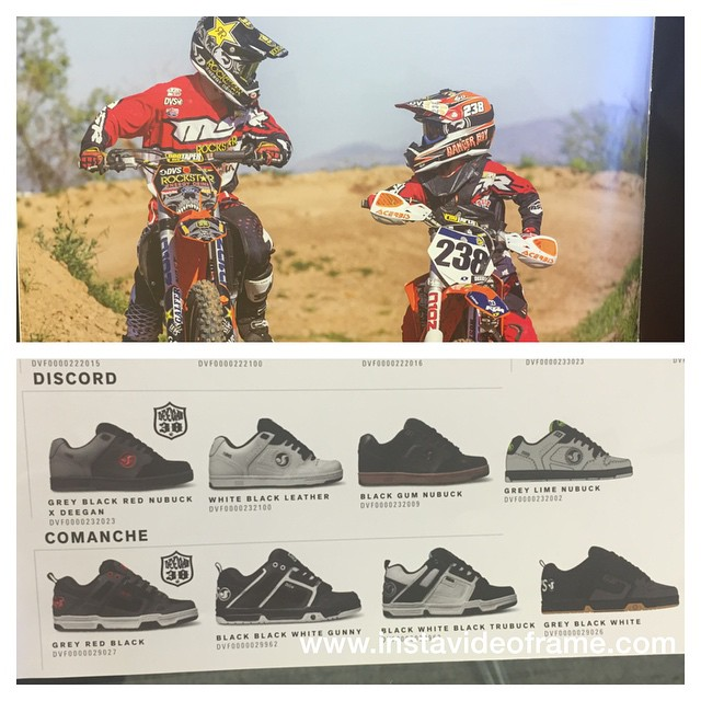 Cool pic from the @dvsshoes catalog of a dad n son moment. Here some of the #Deegan38 line of shoes I helped design . Available at DVSshoes.com ,@journeys #FatherSon #moto #family #allingoodfun #DVS @dangerboydeegan #shoes