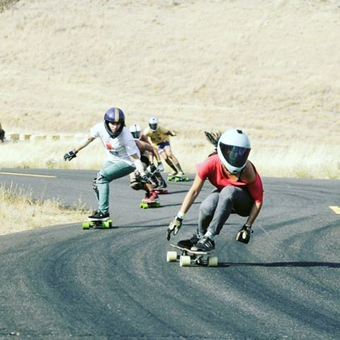 Team rider @cocomarii sweeps a never ending left. Photo: Oregonlive.com #girlswhoshred #xshelmets #Maryhill #skate #longboardgirlscrew #longboard #dh6