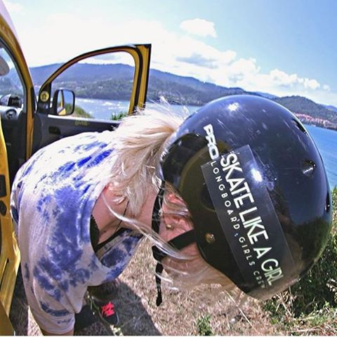 @theresa_charlotte_skate about to drop in, rocking our #skatelikeagirl sticker in her helmet. Get your LGC sticker pack in longboardgirlscrew.com !  #longboardgirlscrew #womensupportingwomen #girlswhoshred #lgc #stickers