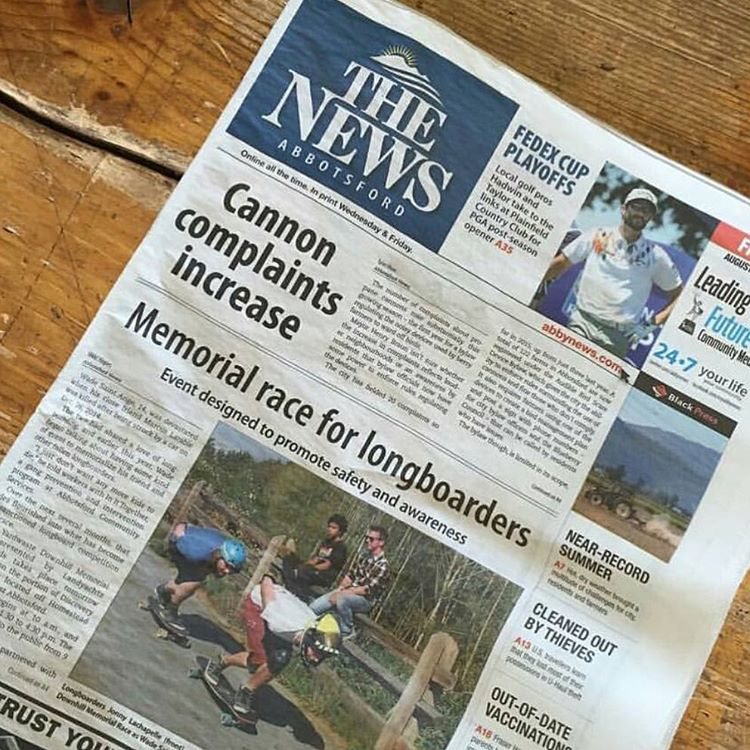 Shouts out to @jonnyyardwaste for this killer cover photo in a local newspaper from Abbotsford, BC. @yardwastemike hosted a race over the weekend and heard it went off without any issues despite the weather. #dblongboards #yardwaste #longboarding