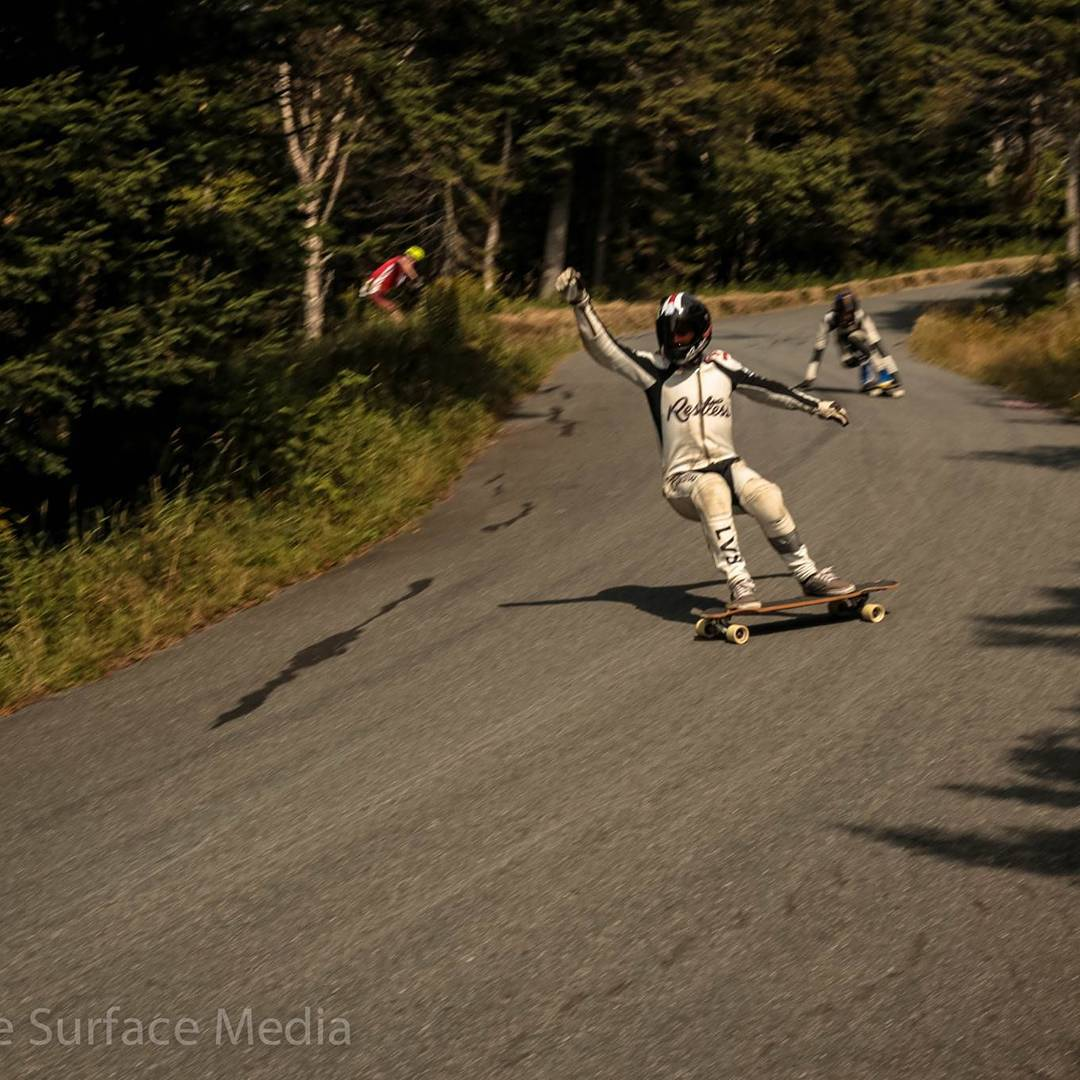 Team rider @lp_dery killed it this weekend at #burkefreeride with crazy no hands down runs.  Photo by @skatesurfacemedia