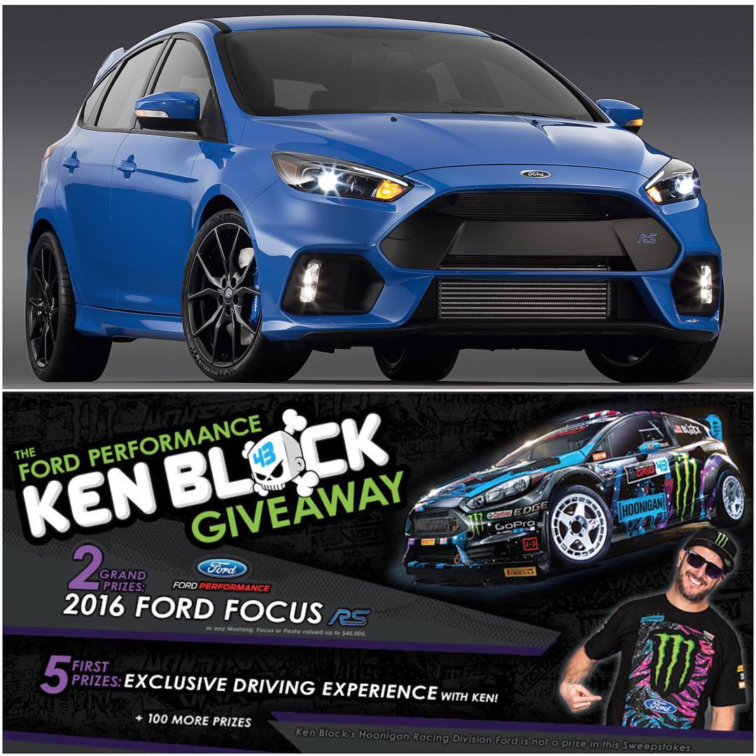 Just a few hours left for your chance to win a FREE 2016 AWD Ford Focus RS! Monster Energy and Ford Performance have teamed up to give away two of these beauties, and more - including an awesome driving experience. All you have to do to enter is click...