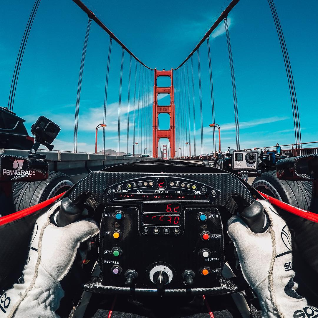 @grahamrahal has the best kind of Tuesday morning commute! Share your best moments with us by clicking the link in our profile. #gopro #goldengatebridge #indycar