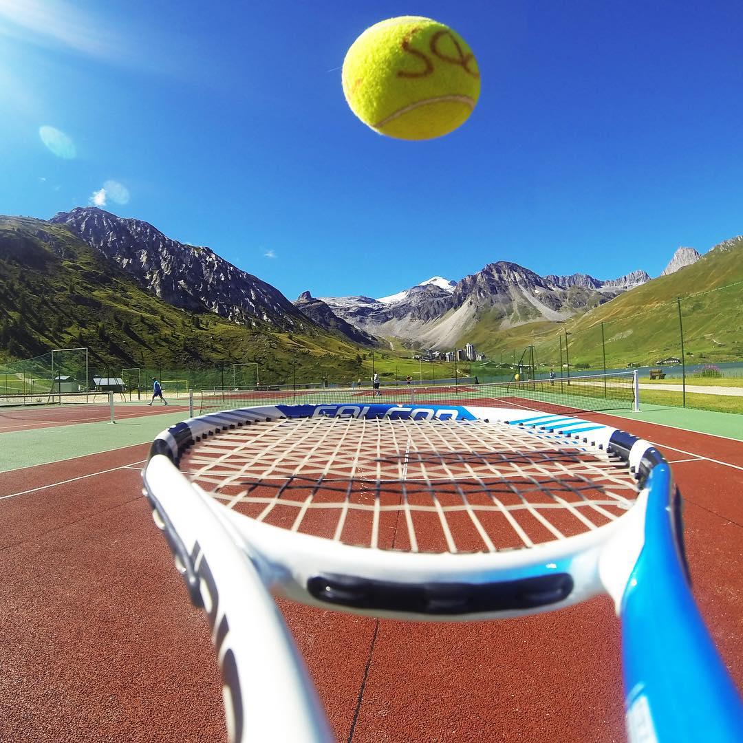 Tennis with a view at @TignesOfficiel. #gopro #tignaddict