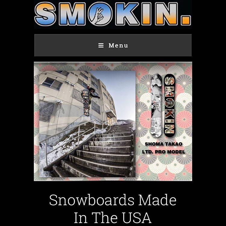 Check out @shoma3 late release at www.smokinsnowboards.com Shomas style is a perfect match with our crew.  #ForRidersByRiders | #weareOK | #handmadeUSA |#3yearwarranty