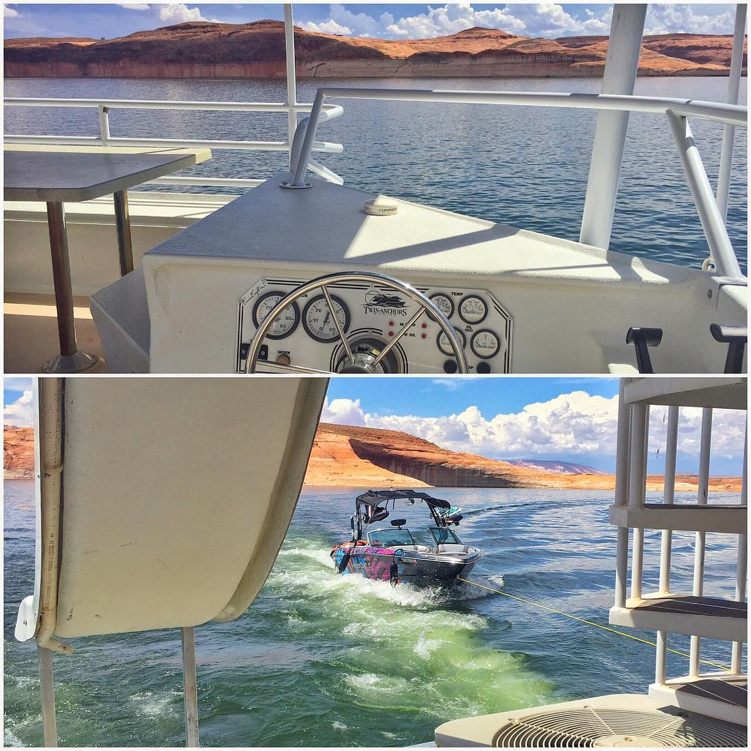 My final views from the top of the houseboat (driving from the 2nd floor) on Lake Powell as we head back to civilization. Time to return the rented houseboat, pack up the @MCboatcompany X30, and transit the family/friends back home to #ParkCity....