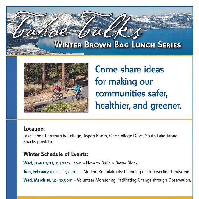 Join us on Wednesday, Jan. 21 at 11:30am @laketahoe_communitycollege for the next Tahoe Talks brown bag lunch. Free to attend! For more info, go to keeptahoeblue.org.